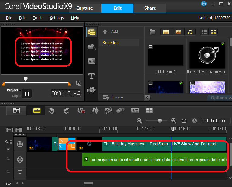 Наложение текста в Ulead VideoStudio