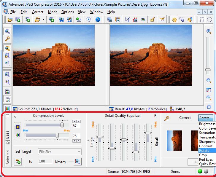 Настройка сжатия в программе Advanced JPEG Compressor