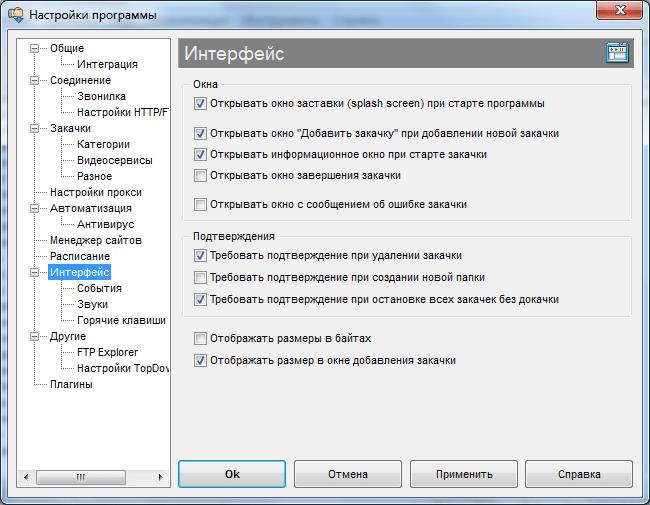 Настройки интерфейса в программе Download Master
