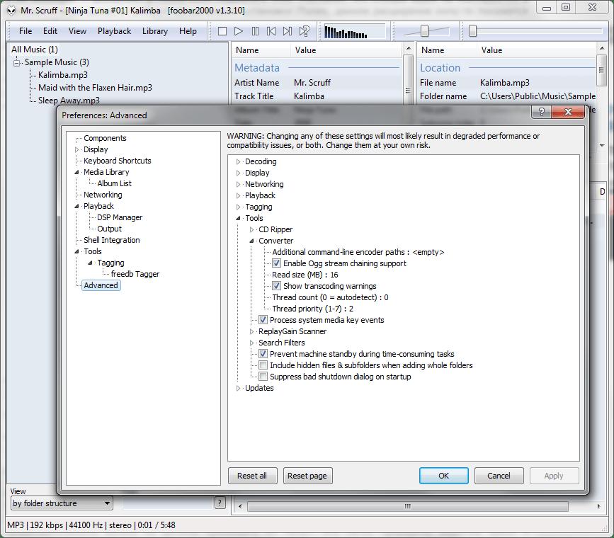 Настройки конвертации в Foobar2000
