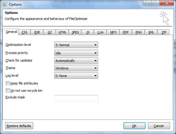 Настройки в программе FileOptimizer