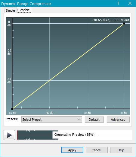 Обработка эффектами (компрессор) в WavePad Sound Editor