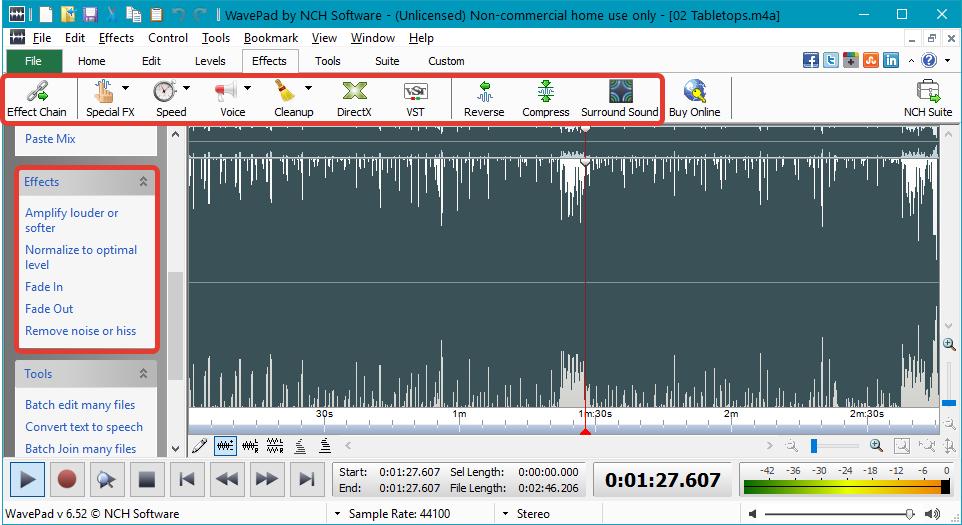 Обработка эффектами в WavePad Sound Editor