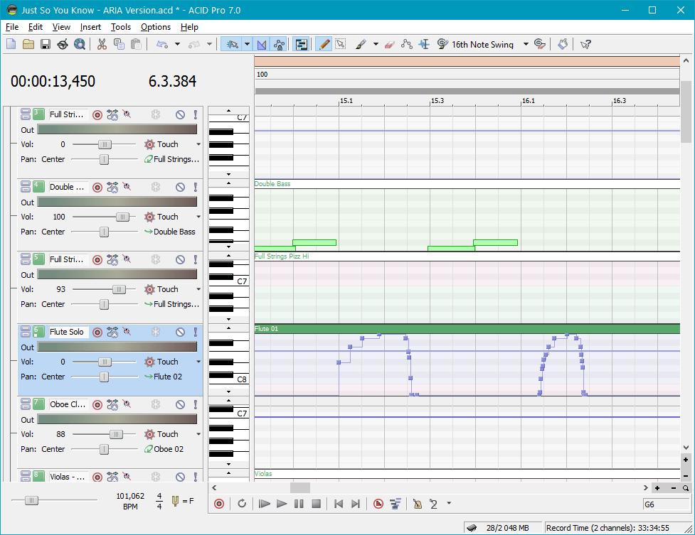 Обработка и редактирование (автоматизация) в Sony Acid Pro