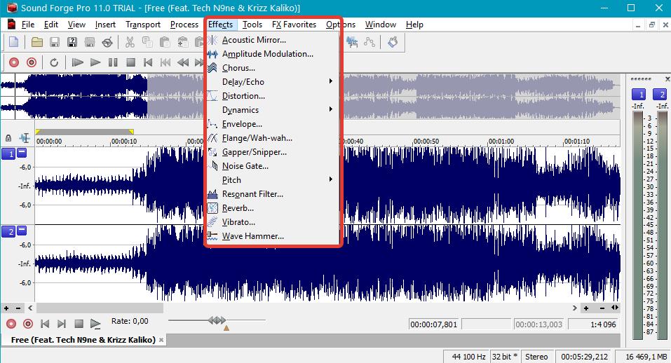 Обработка звука эффектами в Sound Forge Pro