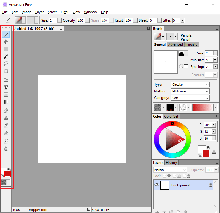 Панель инструментов в Artweaver