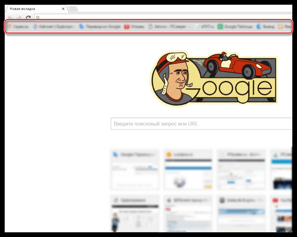Панель закладок в Google Chrome