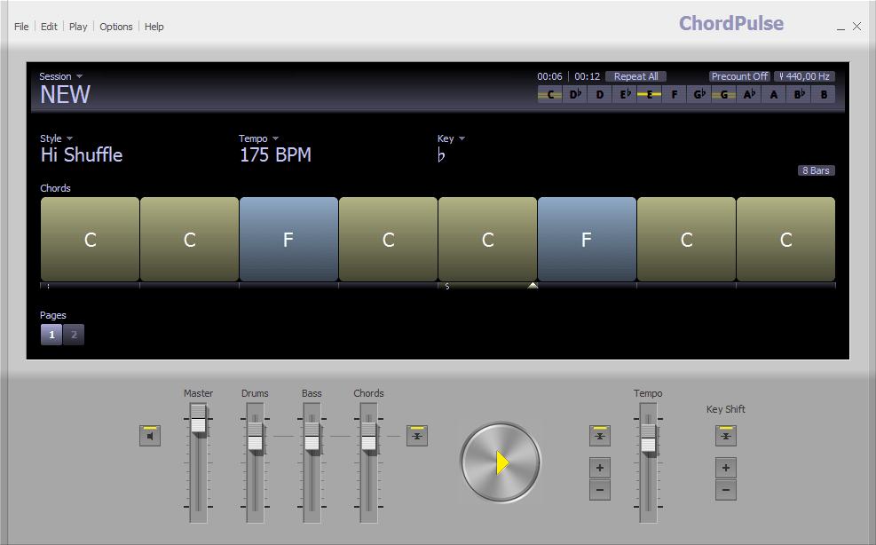 Подбор аккордов в ChordPulse