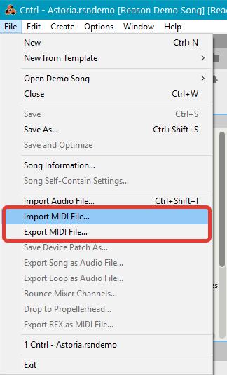 Поддержка MIDI-файлов в Reason
