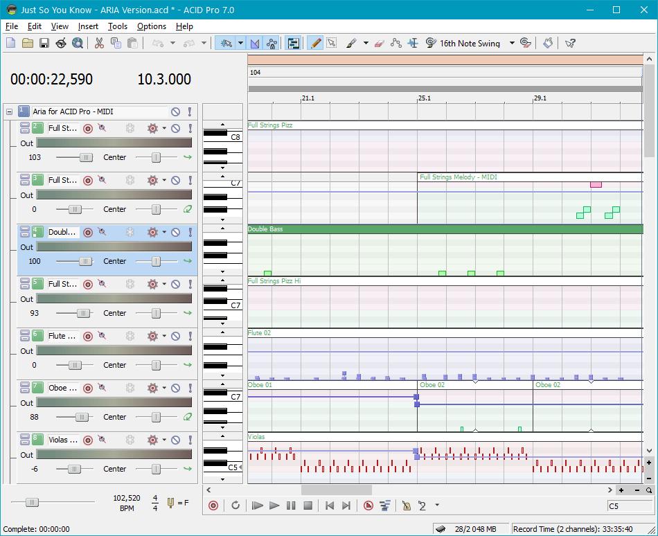 Полнофункциональная поддержка MIDI в Sony Acid Pro
