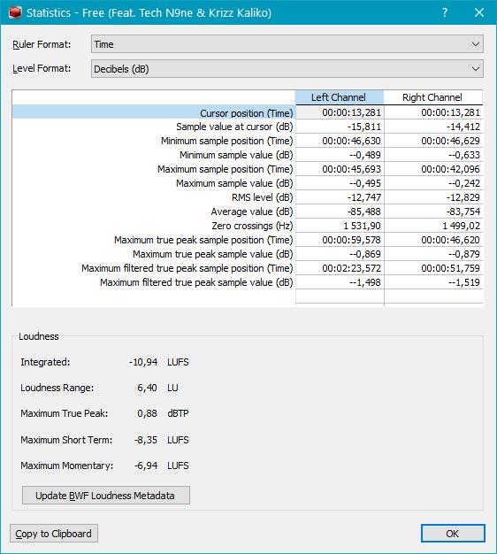 Получение детальной информации об аудиофайле в Sound Forge Pro