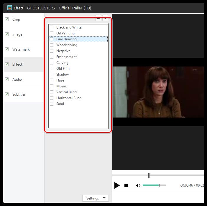 Применение эффектов в Xilisoft Video Converter