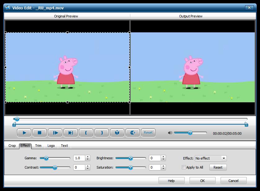 Применение эффектов в iWisoft Free Video Converter