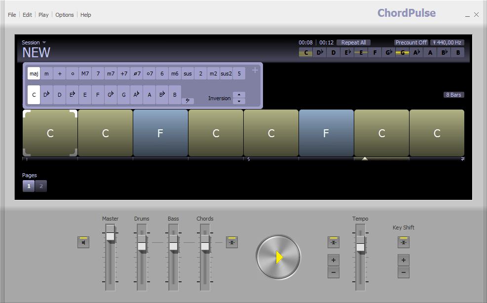 Работа с аккордами в ChordPulse