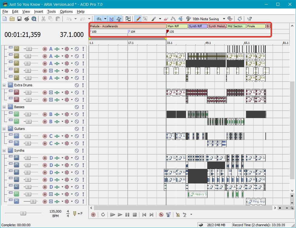 Работа с секциями в Sony Acid Pro