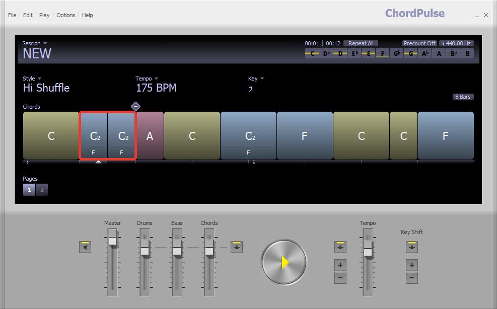 Разделение аккордов в ChordPulse