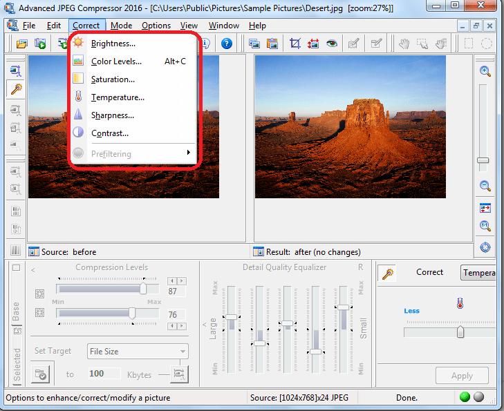 Редактирование изображения в программе Advanced JPEG Compressor