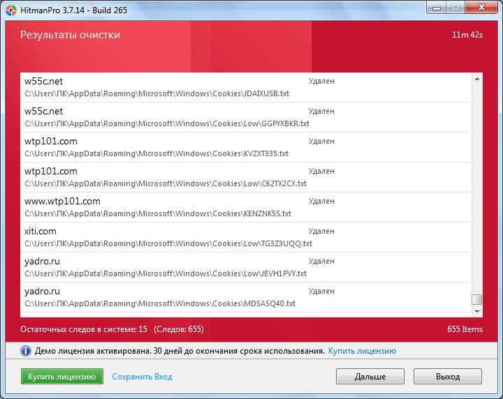 Результаты очистки системы в программе HitmanPro