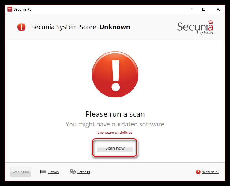 Сканирование системы с помощью Secunia PSI