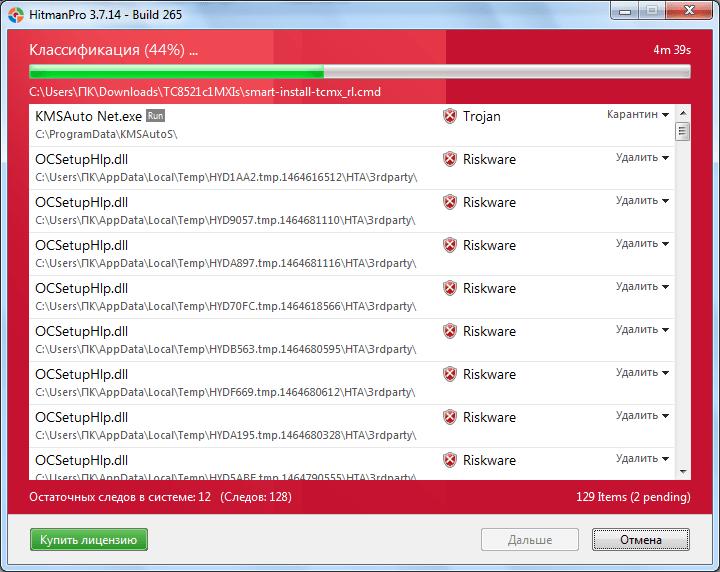 Сканирование системы в программе HitmanPro