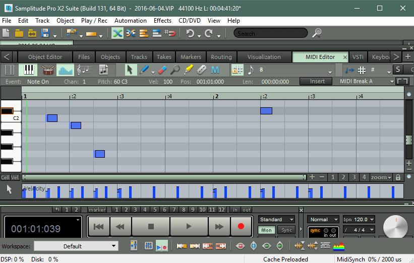 Сочинение музыки в Samplitude