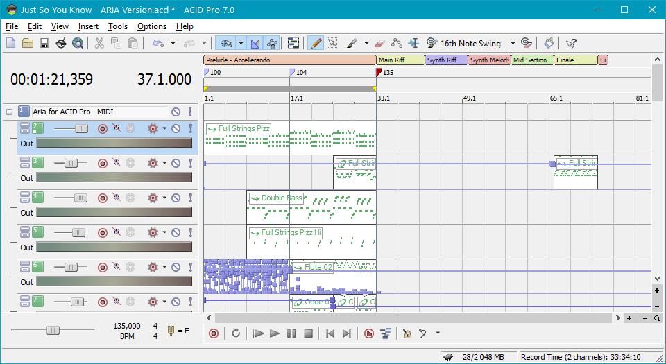 Создание музыки в Sony Acid Pro