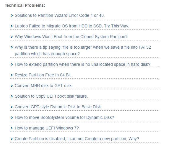 Справка и поддержка MiniTool Partition Wizard (2)