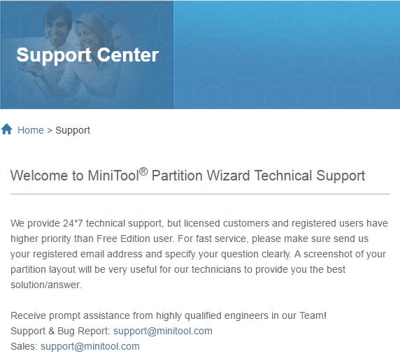 Справка и поддержка MiniTool Partition Wizard (3)