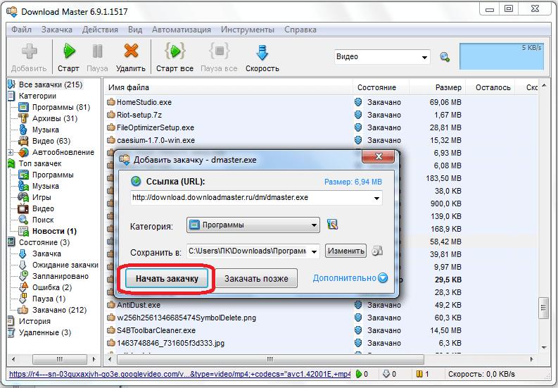 Старт закачки в программе Download Master