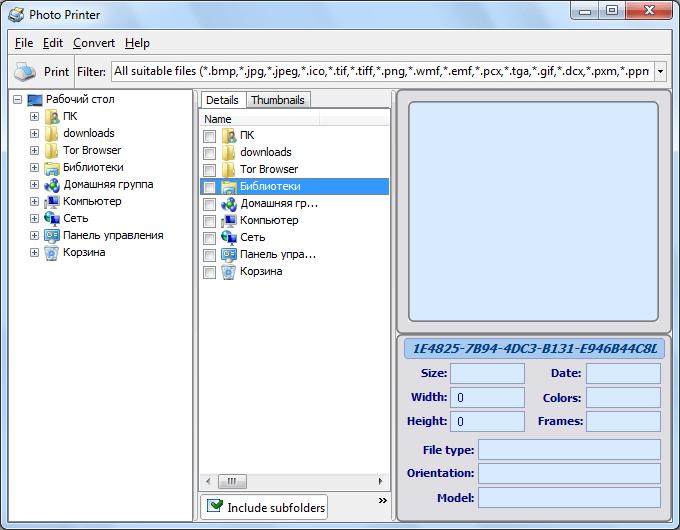 Стартовое окно программы Photo Printer