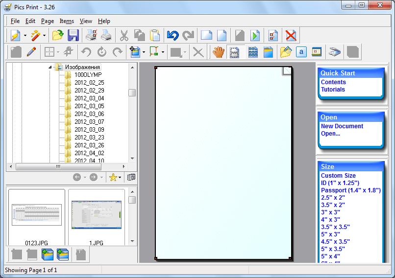 Стартовое окно программы Pics Print