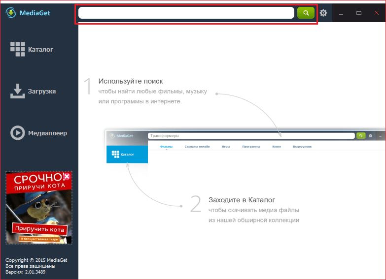 Строка поиска для статьи Как пользоваться МедиаГет