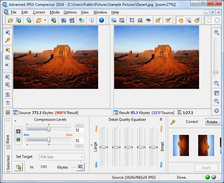 Сжатие фотографии в Advanced JPEG Compressor