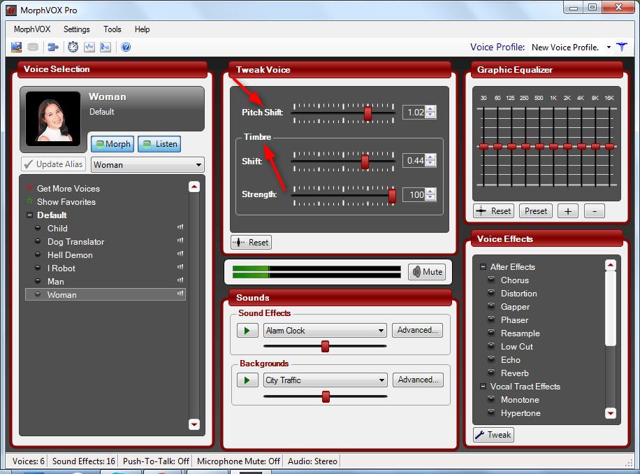 Тембр и высота в Morph VOX Pro