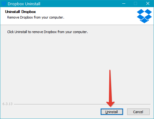 Удаление Dropbox
