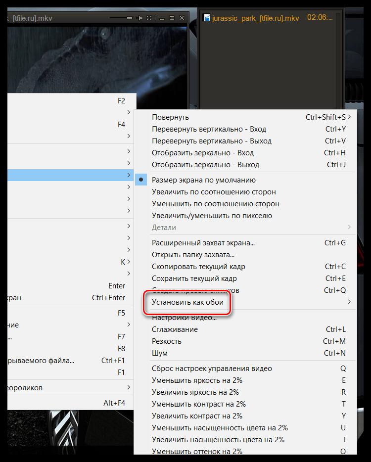 Установка кадра в качестве обоев рабочего стола в GOM Player