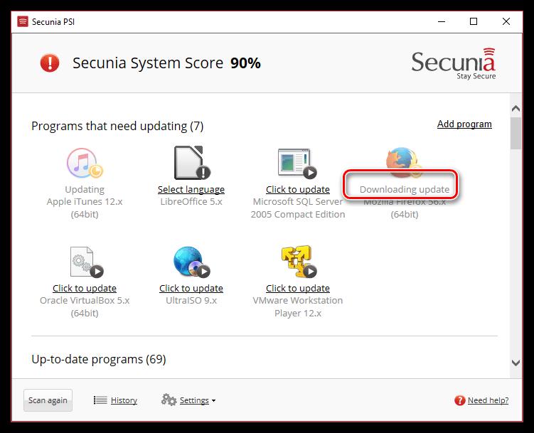 Установка обновлений для Google Chrome в программе Secunia PSI