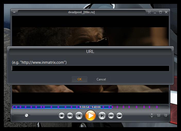 Воспроизведение потокового контента в Zoom Player