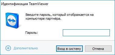 Ввод пароля в TeamViewer