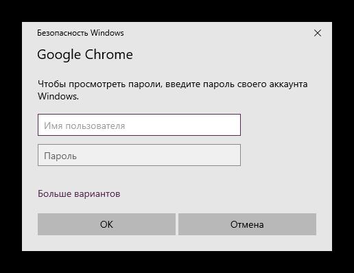 Ввод учетных данных для просмотра паролей в Google Chrome