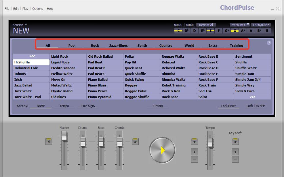 Выбор жанров, шаблонов и готовых композиций в ChordPulse