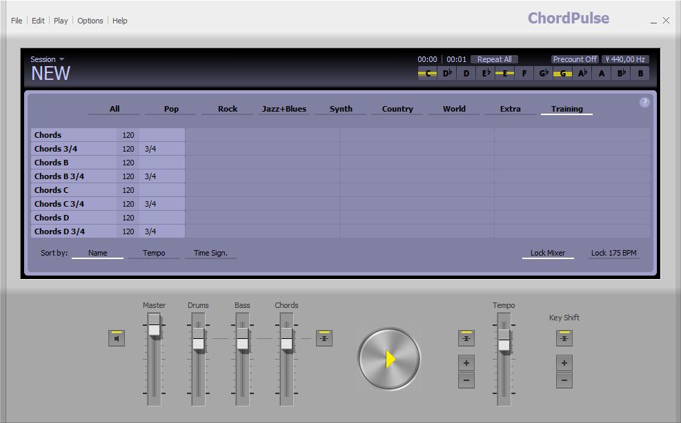 Выбор жанров в ChordPulse