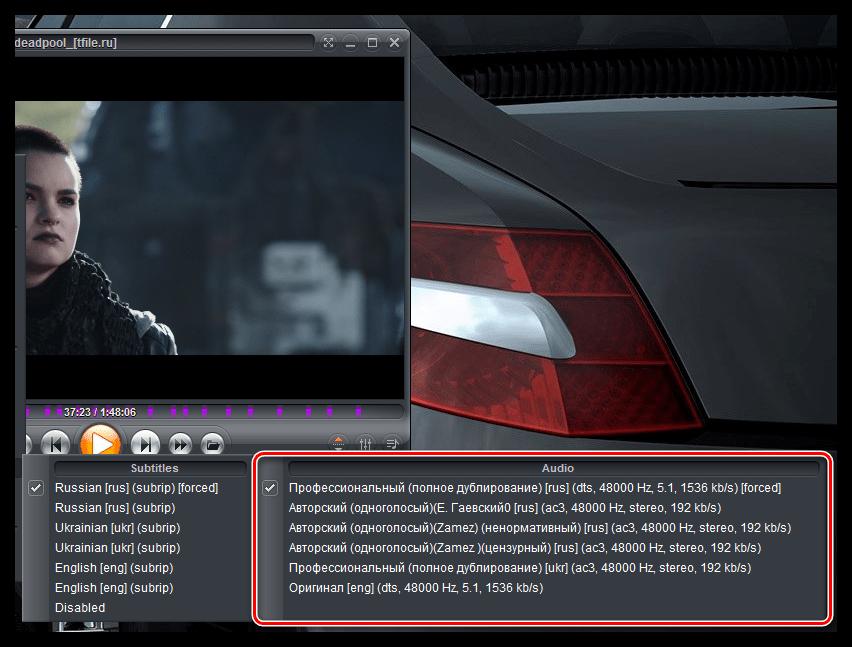 Выбор звуковых дорожек в Zoom Player