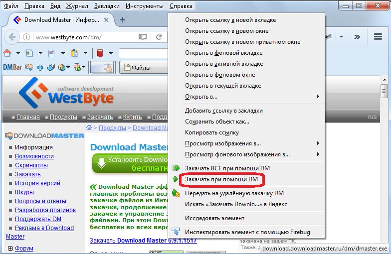 Закачка через контекстное меню браузера в программе Download Master