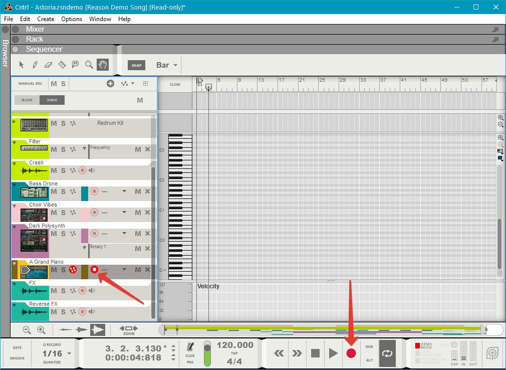 Запись аудио в Reason