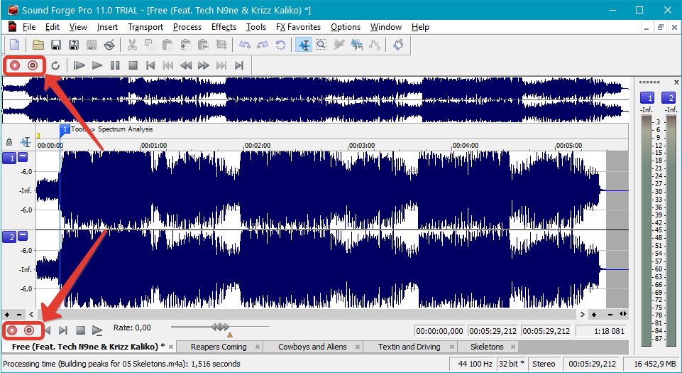 Запись аудио в Sound Forge Pro