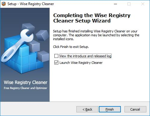 Завершение установки Wise Registry Cleaner