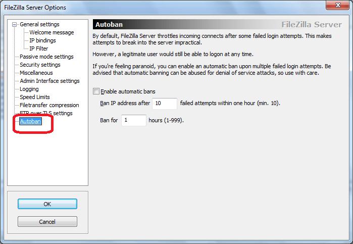 Autoban программы FileZilla Server