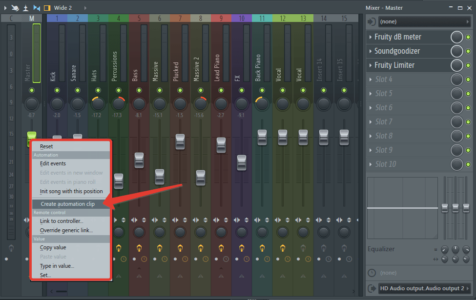 Автоматизация громкости в FL Studio