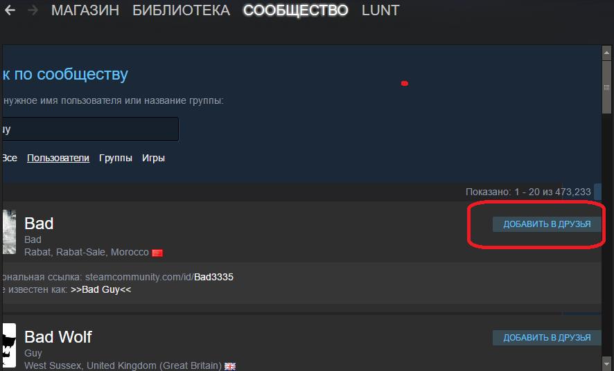 Добавление человека в друзья в Steam